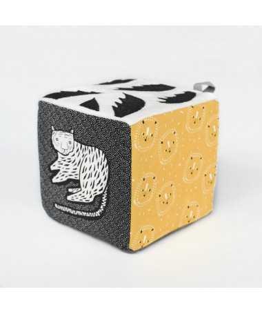 Cube sensoriel - Tissu biologique - Jungle