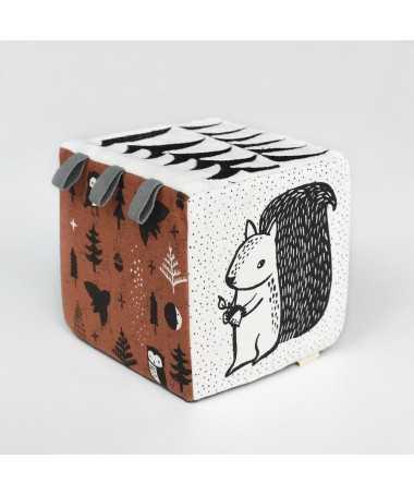 Cube sensoriel - Tissu biologique - Woodland