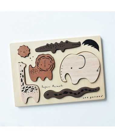Puzzle en bois d'hévéa- Safari - Wee Gallery