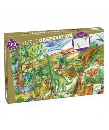 Puzzle d'observation - Les dinosaures (100 pcs) + livret pédagogique