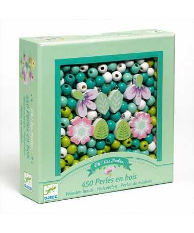 Perles bois - Feuilles et fleurs