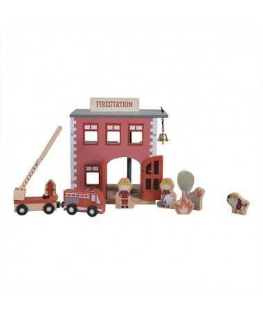 Circuit train en bois - Caserne de pompiers