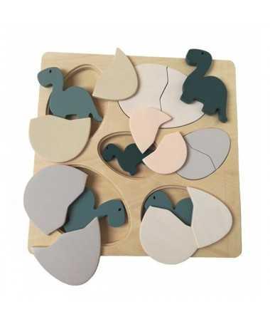 Puzzle en bois - Dino & Oeufs
