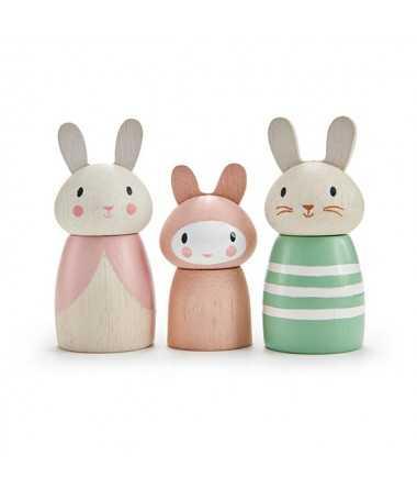Famille de lapins - figurines en bois