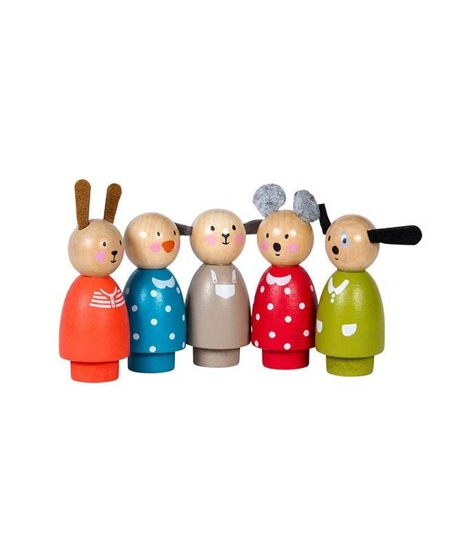 Set 5 personnages en bois – La Grande Famille