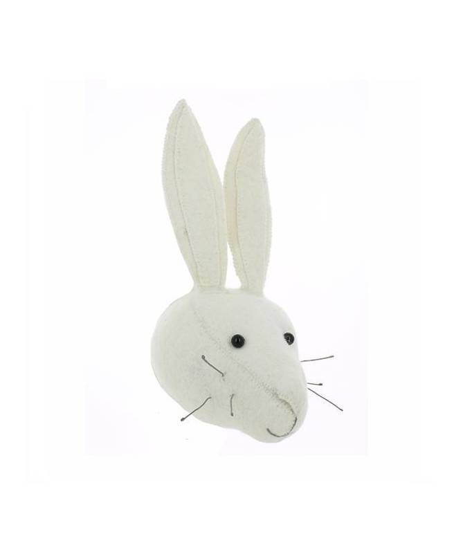 Trophée mini tête de lapin blanc