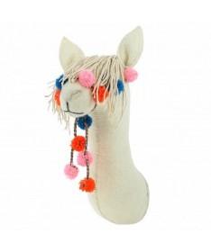 Trophée tête de lama et sa bride colorée