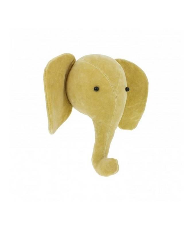 Trophée mini tête d'éléphant en velours jaune