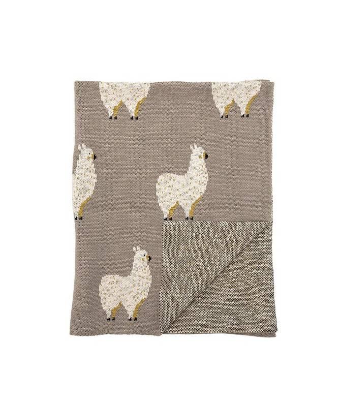 Couverture en coton - Lama - Gris