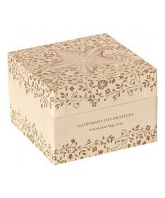 Boîte décoration en métal blanc/or - 6 ass.