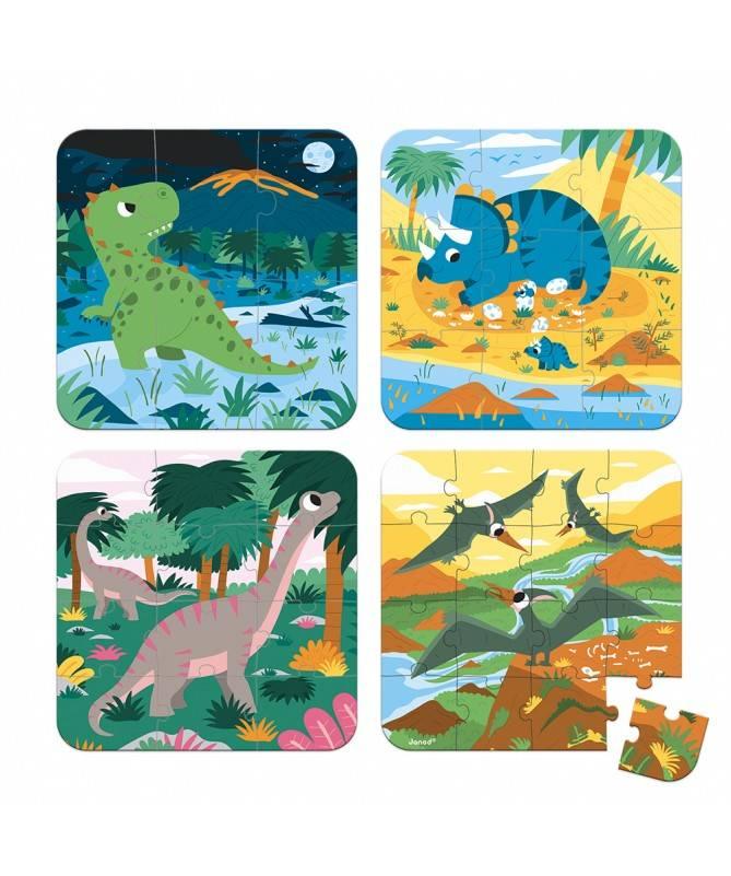 4 PUZZLES EVOLUTIFS- DINOSAURES (6-9-12-16 PCS)