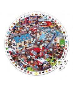 Puzzle d'observation rond - Pompiers