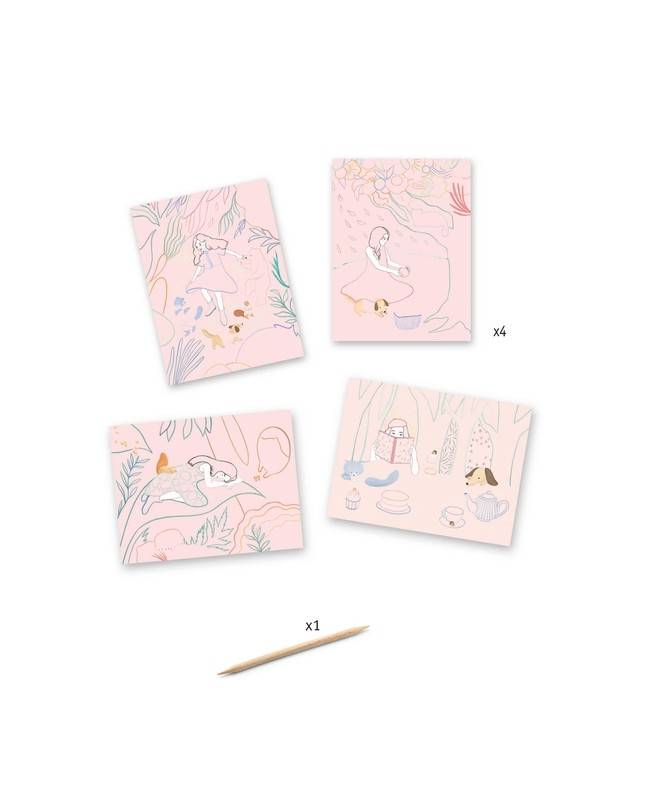 Cartes à gratter pastel - Le pique-nique