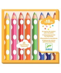 Crayons - 8 Crayons de Couleurs pour les Petits