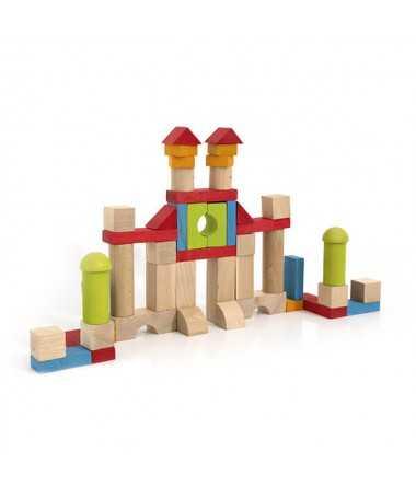 Blocs de construction en bois - 52 pièces