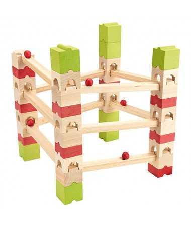 Circuit de billes en bois - 67 pièces
