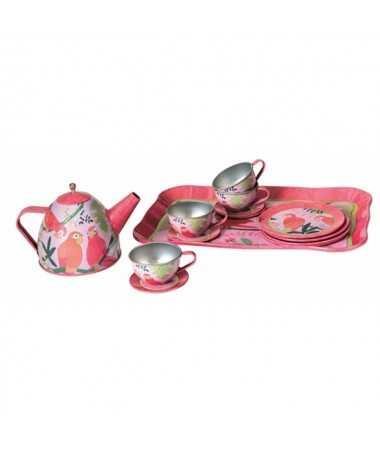Service à thé en métal - Motif perroquet