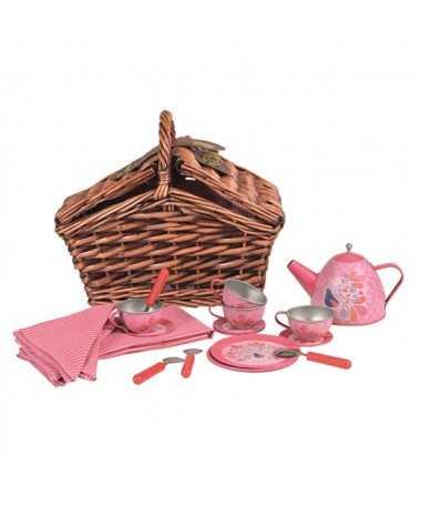 Service à thé dans panier en osier - Motif paon