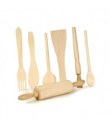 Set de 7 accessoires de cuisine - bois
