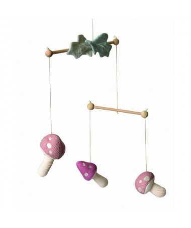 Mobile champignon - bois et gaze de coton