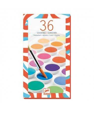 Palettes de peinture - 36 pastilles de gouache