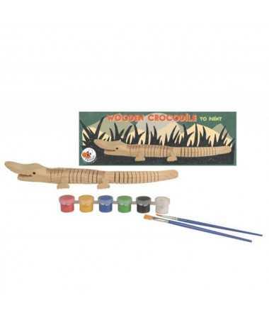 Crocodile articulé en bois