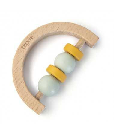 Hochet demi-cercle en bois - Mint Yellow - FSC